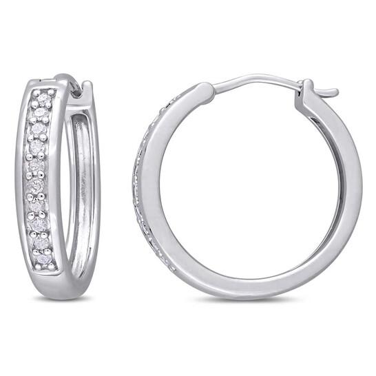 Amour Sterling Silver 1/3 CT TDW Diamond Hoop Earrings | Joma Shop