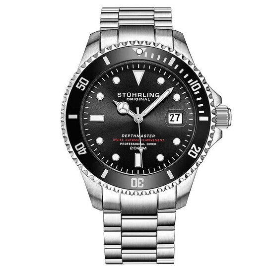 Stuhrling Original Aquadiver Automatic Black Dial Men's Watch M13534   Joma Shop