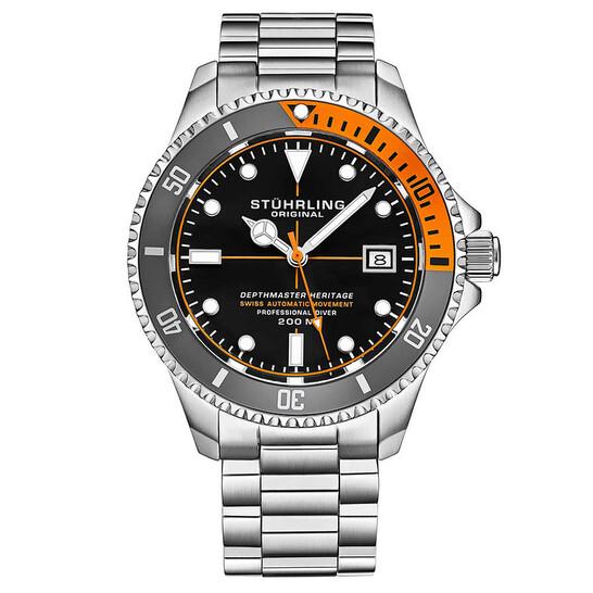 Stuhrling Original Aquadiver Automatic Black Dial Men's Watch