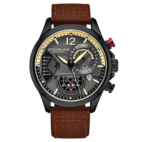 Stuhrling Original Aviator Quartz Grey Dial Men's Watch M13575 | Joma Shop