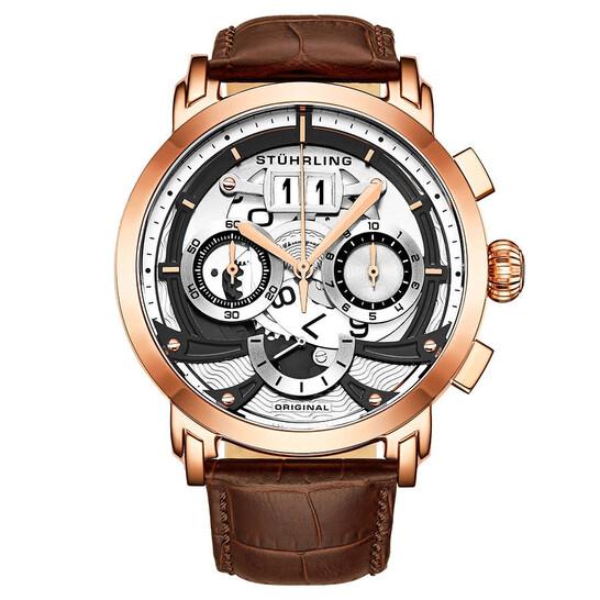 Stuhrling Original Monaco Chronograph Quartz White Dial Men's Watch M13523 | Joma Shop