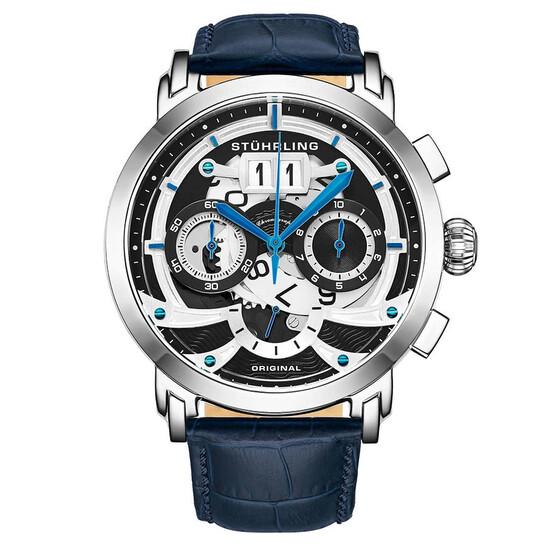 Stuhrling Original Monaco Quartz Black Dial Men's Watch M13549   Joma Shop