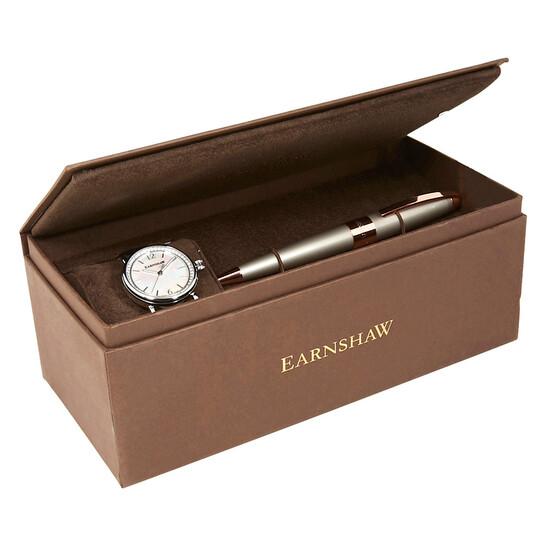 Thomas Earnshaw Investigator Pearl Dial Ladies Watch ES-0022-SETA-02   Joma Shop