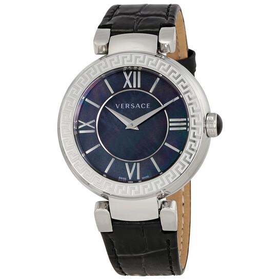 Versace Leda Black Mother of Pearl Dial Black Leather Ladies Watch