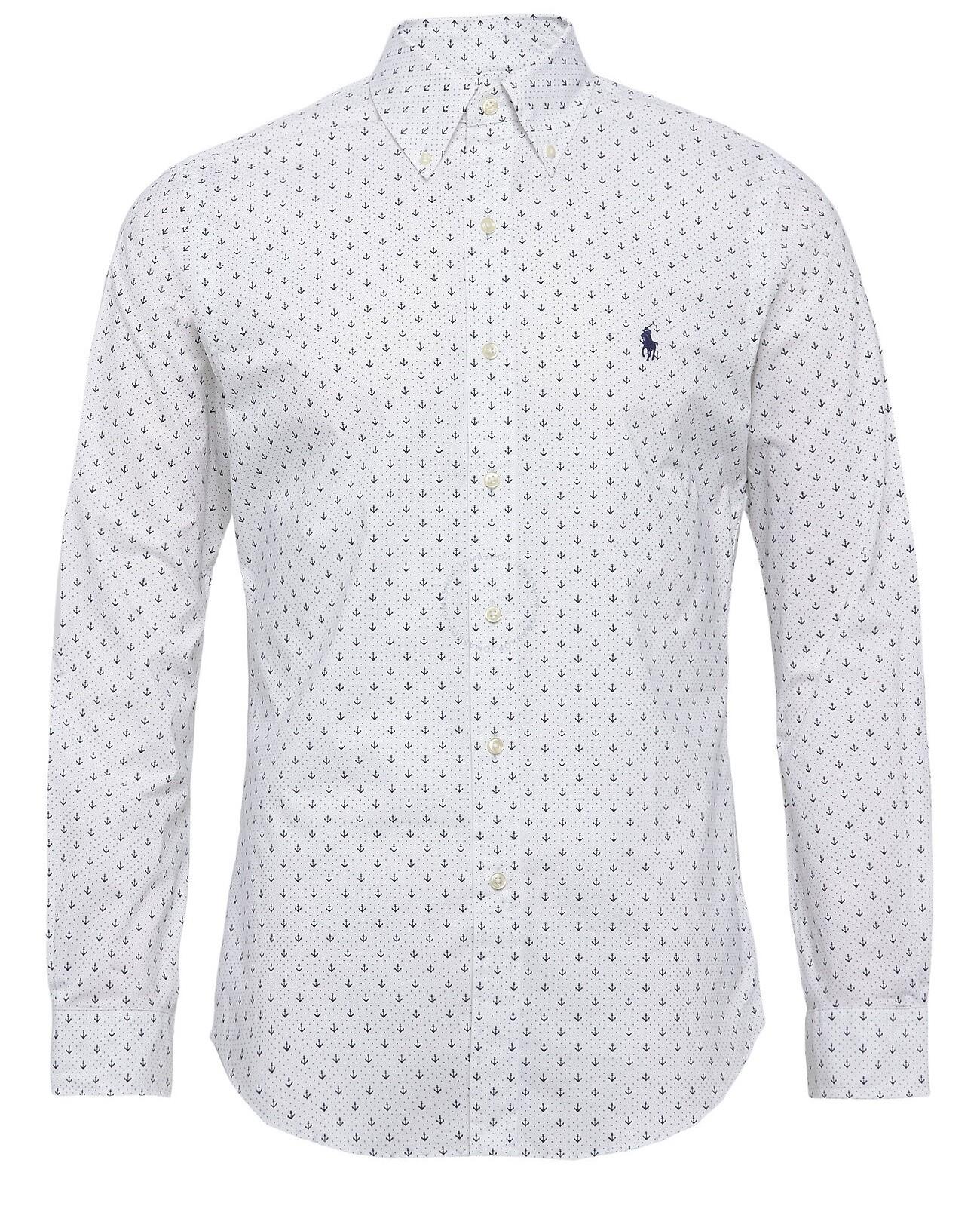 Polo Ralph Lauren Long Sleeve Slim Fit Dot Cotton Poplin Shirt
