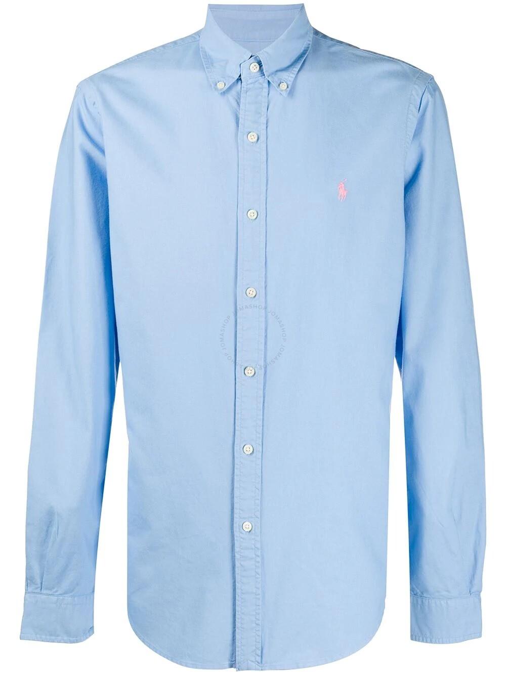 Polo Ralph Lauren Men's Blue Logo-embroidered Cotton Oxford Shirt