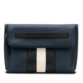 발리 Bally Navy Blue Stripe Benjy Clutch Bag