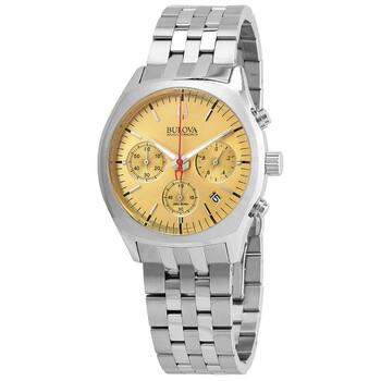 부로바 Bulova Accutron II Chronograph Quartz Gold Dial Mens Watch 96B239