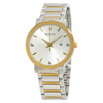 Deals on BULOVA Diamond Silver Dial Mens Watch