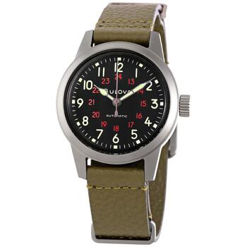 부로바 시계 Bulova Hack Automatic Black Dial Mens Watch 98A255
