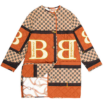 Burberry Diamond Quilted Coat With All Over B Print, Brand Size Large