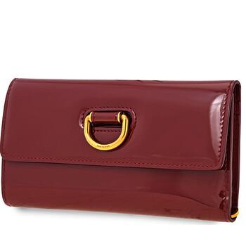 버버리 Burberry D-ring Patent Leather Continental Wallet- Crimson