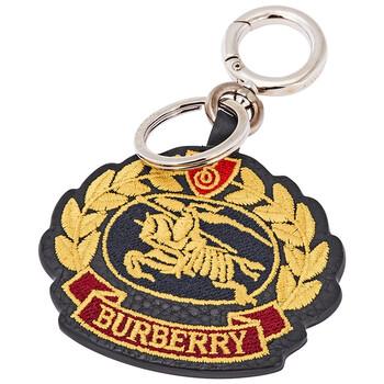 버버리 Burberry Embroidered Archive Logo Leather Key Charm