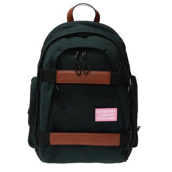버버리 Burberry Mens Large Leather Trim Nylon Nevis Backpack