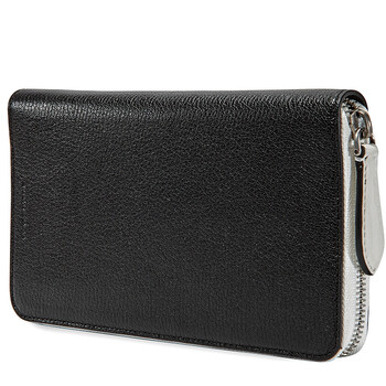 버버리 Burberry Mens Zip Around Wallet Supple/Goat Leather Black Goat Lth Long Zip Ard