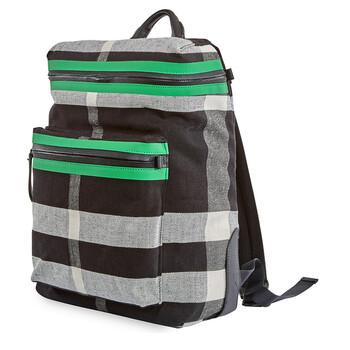 버버리 Burberry Mens Zip-top Leather Trim Canvas Check Backpack