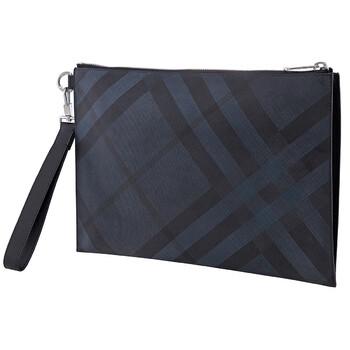 버버리 Burberry Navy London Check And Leather Zip Pouch