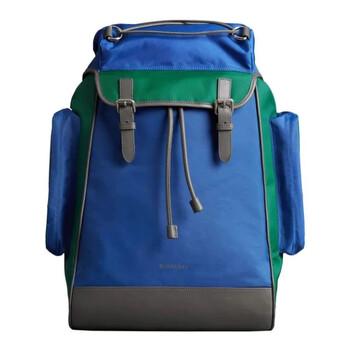 버버리 Burberry Tri-tone Nylon And Leather Backpack In Dark Canvas Blue