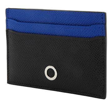 Bvlgari Black And Cobalt Tourmaline Grain Calf Leather Card Holder