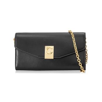 셀린느 Celine Ladies Black Leather Wallet With Chain Strap