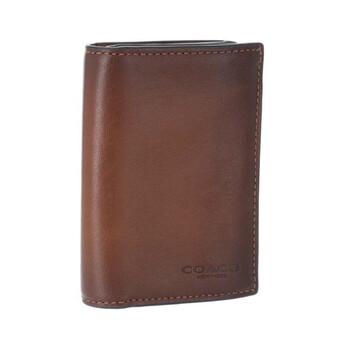 COACH Bifold Card Leather Case In Dark Saddle