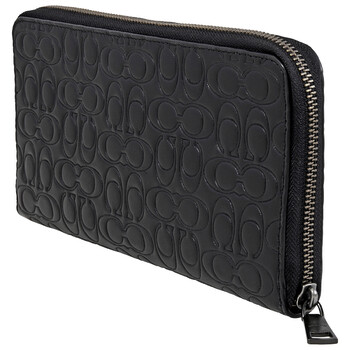 COACH Black Mens Travel Wallet In Signature Leather