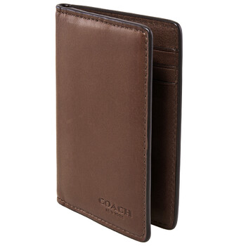 COACH Dark Brown Sport Calf Leather Card Case