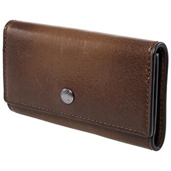 COACH Four Ring Leather Key Case-Saddle