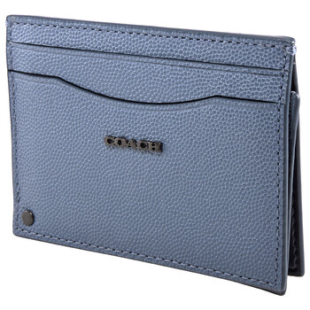 COACH Grained Leather Swivel Card Case