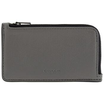 COACH L-zip Leather Card Case In Grey