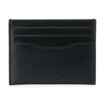 COACH Mens Black Leather Logo Embossed Card Case