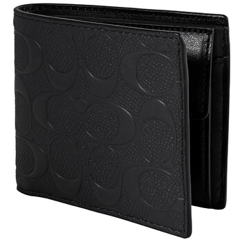 COACH Mens Signature Leather Coin Wallet