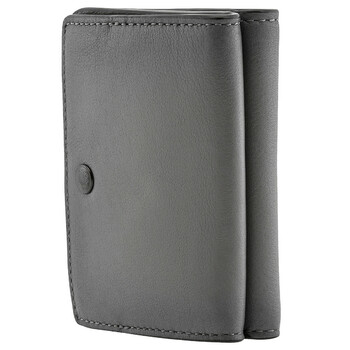 COACH Mens Trifold Compact Leather Wallet In Grey