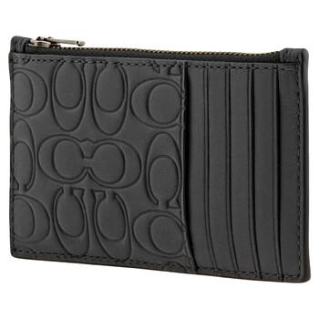 COACH Midnight Signature Leather Zip Card Case