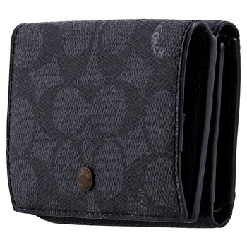 COACH Signature Canvas Blocking Trifold Origami Coin Wallet
