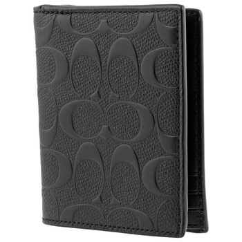 COACH Signature Leather Slim Coin Wallet-Black