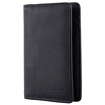 COACH Smooth Calf Leather Bifold Card Wallet In Midnight Navy