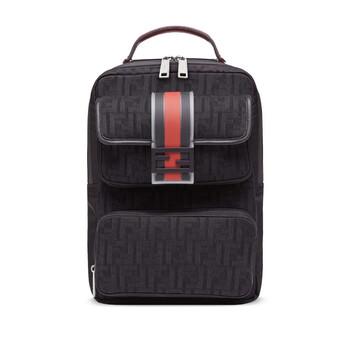 펜디 Fendi Black Mens Baguette FF Motif Backpack