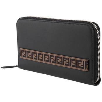 펜디 Fendi Black Mens FF Motif Strap Travel Wallet