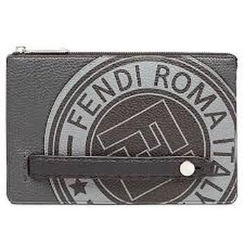 펜디 Fendi Mens Clutch Bag Stamp Black Fd Stmp Selleria Clutch