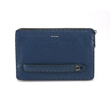 펜디 Fendi Mens Blue Leather Clutch