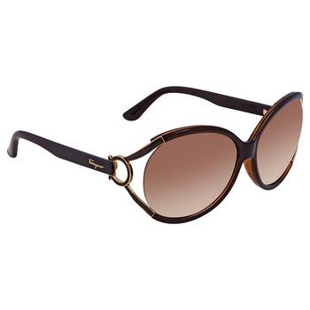 Deals on SALVATORE FERRAGAMO Brown Gradient Round Sunglasses