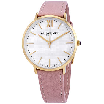 브루노 말리 시계 Bruno Magli Gold Tone Slim Case with White Checkered Dial on Blush Pink Smooth Italian Leather Strap