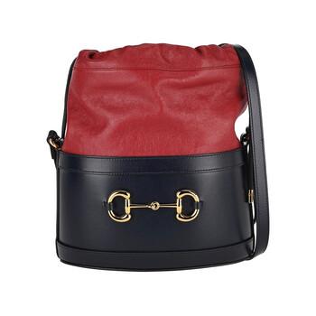 구찌 1955 홀스빗 버킷백 - 네이비/체리레드 (아이유, 기은세, 김나영 착용) Gucci 1955 Horsebit Shoulder Bag 602118 1DBLG 8495