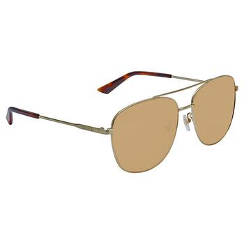 구찌 Gucci Brown Aviator Unisex Sunglasses GG0410SK 004 61