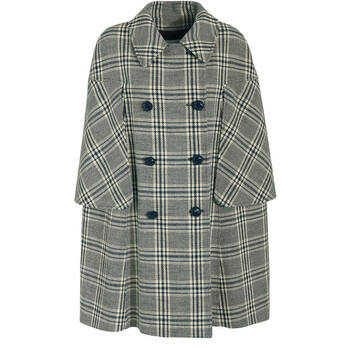 Gucci Checkered Double-Breasted Cape Coat, Brand Size 40