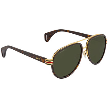 구찌 Gucci Green Aviator Unisex Sunglasses GG0447S00458