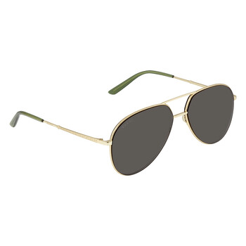 구찌 Gucci Grey Aviator Unisex Sunglasses GG0356S 005 61
