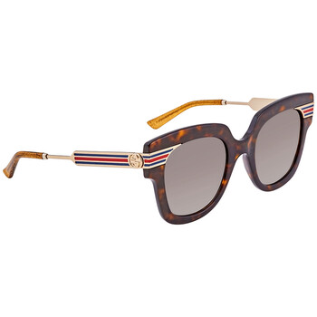 GUCCI Grey Brown Shaded Square Ladies Sunglasses Deals