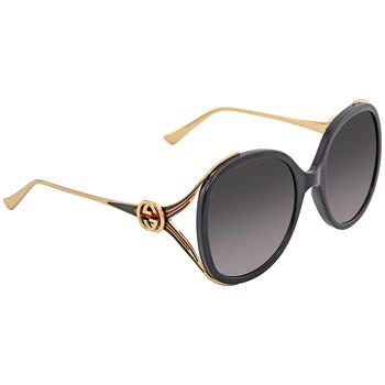구찌 Gucci Grey Gradient Oval Sunglasses GG0226S 001 56